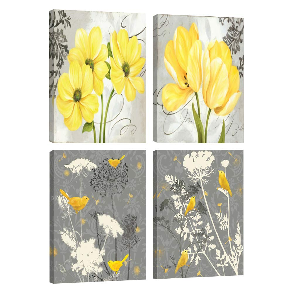 Yellow and gray grey flower birds wall art abstract floral watercolor print canvas home decor pictures