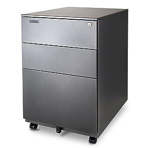 Aurora FC-103MB Modern SOHO Design 3-Drawer Metal Mobile File Cabinet with Lock Key Sliding Drawer, Fully Assembled, Metallic Charcoal