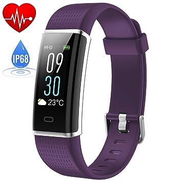HETP Pulsera Actividad Impermeable IP68, Reloj Deportivo Inteligente Natación Actividad Pantalla a Color Monitor de Frecuencia Cardiáco Pulsera ...