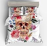 Fabulous Floral Rose Skull White Cotton Microfiber 3pc 90''x90'' Bedding Quilt Duvet Cover Sets 2 Pillow Cases Queen Size