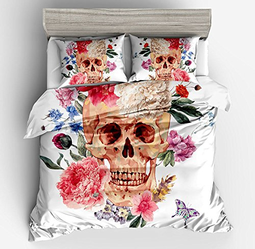 Fabulous Floral Rose Skull White Cotton Microfiber 3pc 90''x90'' Bedding Quilt Duvet Cover Sets 2 Pillow Cases Queen Size by DIY Duvetcover