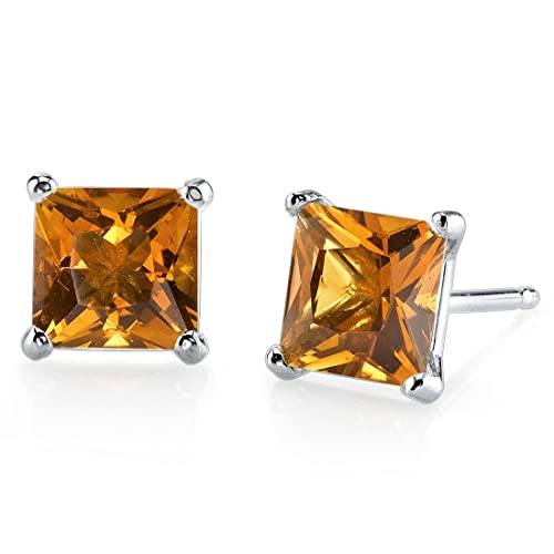 14 Karat White Gold Princess Cut 2.00 Carats Citrine Stud Earrings