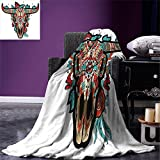 smallbeefly Western Digital Printing Blanket Buffalo Sugar Mexican Skull Colorful Ornate Design Horned Animal Trophy Summer Quilt Comforter Turquoise Red Taupe