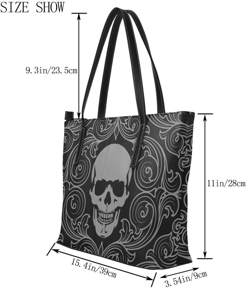 GHUJAOOHIJIO Cool Skull Graphics Print Womens Handle Handbag Shouler Bags Leather Satchel Tote Bags