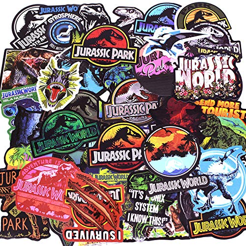 LIN LANG Dinosaur Stickers Jurassic World Park Decals, Laptop Water Bottle Skateboard Phone Motorcycle Bicycle Luggage Guitar Bike Sticker Vinyl Waterproof Decal 75pcs Pack Dinosaur Party Supplies
