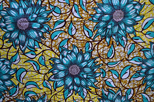 Ankara Fabric- African Print Clothing Designs - Material for Fashion, Dresses, Top, Skirt, Jewelry, Shoes, Bags, Head Wraps, Dashiki Shirt -Styles with Patterns. 6 Yards -