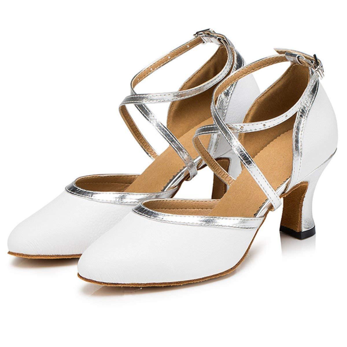 Damen Latin Dance Closed Toe High Heel UP Leder Glitter Salsa Tango Moderne Ballrom Mary Jance Tanzschuhe WeißHeeled6cm-UK5.5   EU38   Our39 (Farbe   Weißheeled8cm Größe   UK3 EU33 Our34)