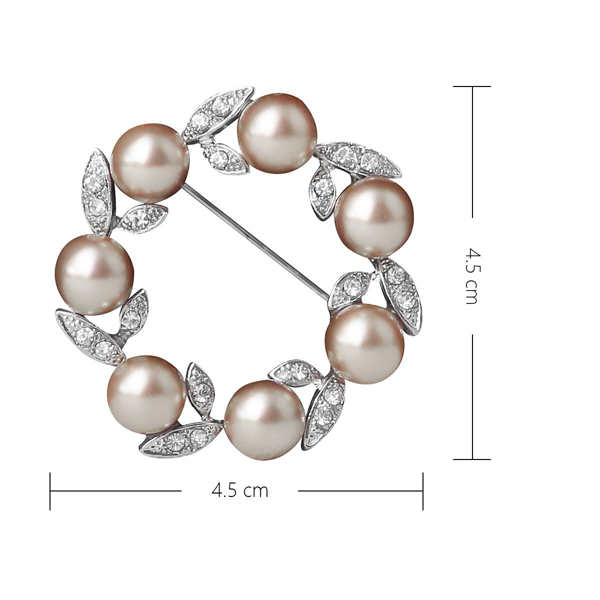 e6cbd5fb6 Amazon.com: Ailer Happy Deal 67% Discount Simulated Pearl Brooch for Women  Circle Wreath Created Crystal Flower Brooches for Women: Jewelry