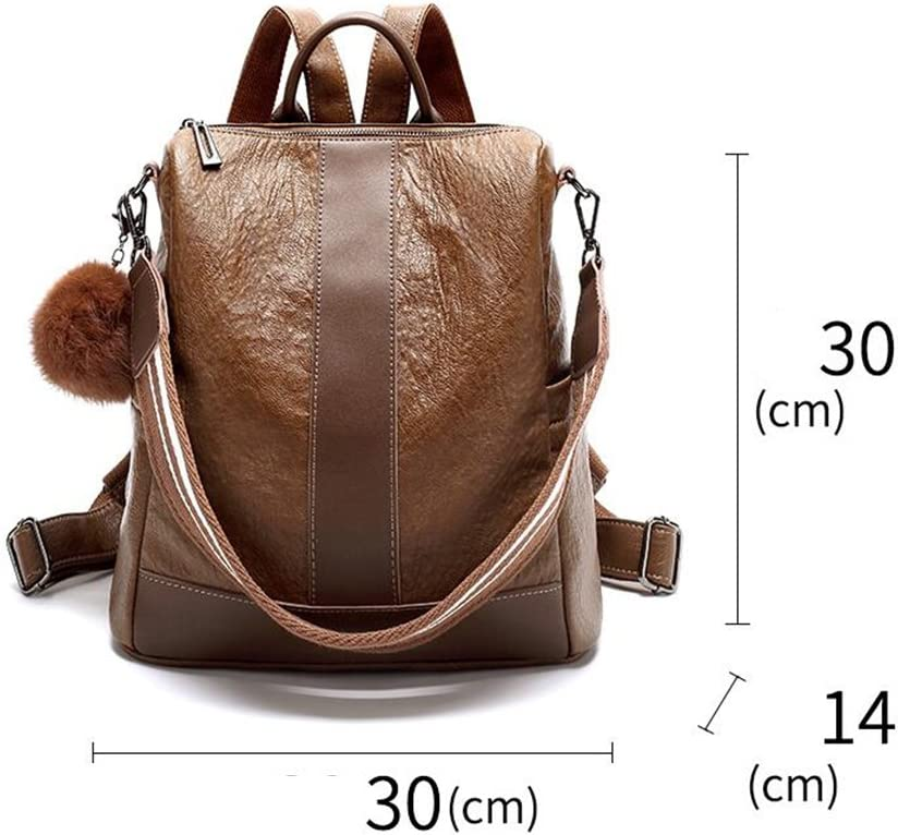 SUN Backpack British Style Retro PU Soft Skin Medium Black//Caramel Color Color : Caramel Color
