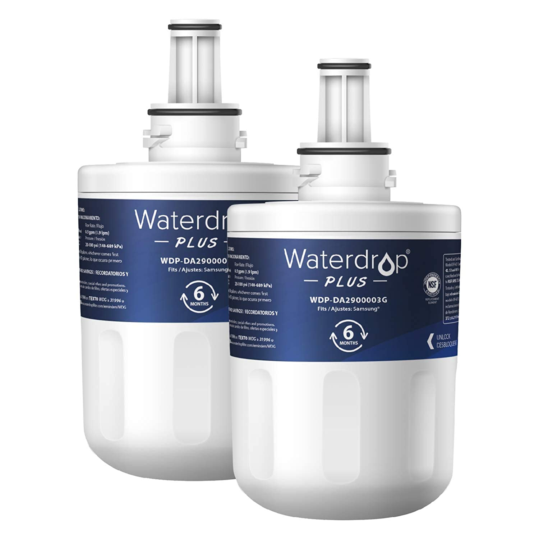 Waterdrop DA29-00003G Replacement Refrigerator Water Filter, Compatible with Samsung DA29-00003G, Aqua-Pure Plus DA29-00003B, HAFCU1, DA29-00003A (2 Pack)