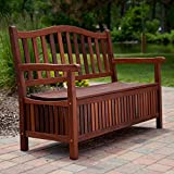 Elegant Top Selling Solid Wood 4' Sitting Bench With Hidden Storage Compartment- Beautiful Oil Finish Protects Against Inclement Weather- 30 Gallon Lift Top Storage Area- Perfect For Pillows More