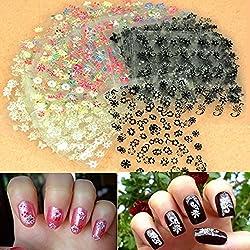 Zeagoo 50x 3D Design Tip Nail Art Sticker Decal Manicure Mix Color Flower