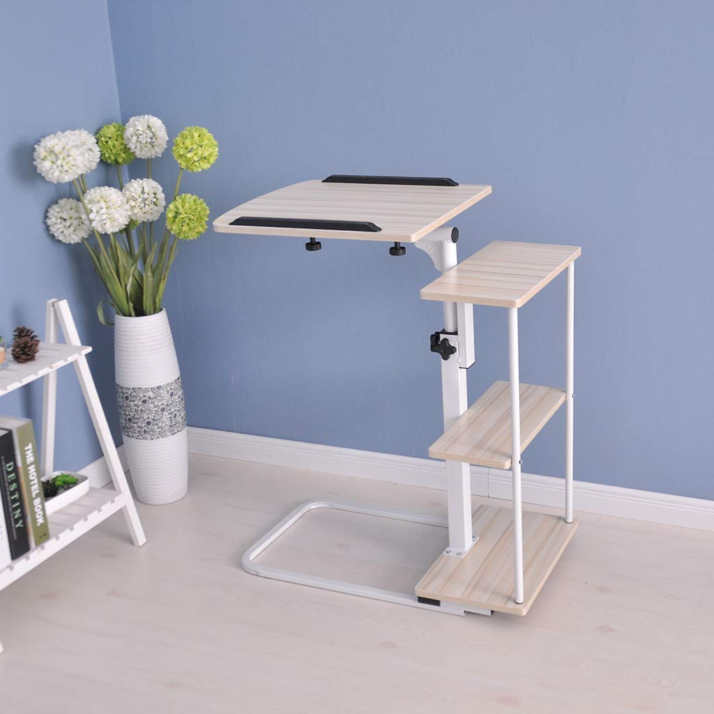 Moveable Sofa Table Height Adjustable Tray Side Table for Bed or Sofa Laptop Desk Ellymi Home Office Desk Overbed Table with Wheels