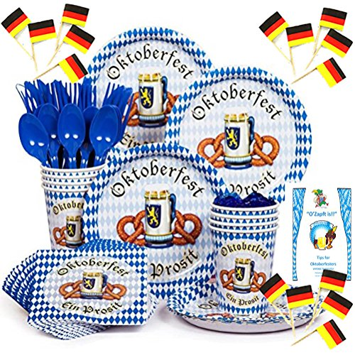 Paper Plates Oktoberfest Party Supplies Kit Disposable Dinnerware Blue White German Flag Lunch or Dessert Plates Napkins Cups Cutlery Knives Forks Spoons Picks Idea Guide Bundle Serves 8 (201 Pieces)