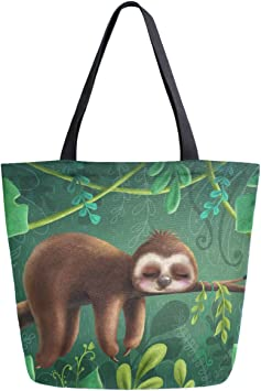 ZzWwR Cute Cartoon Sloth Sleeping on Tree Branch Extra Large Canvas Shoulder Tote Top Handle Bag for Gym Beach Travel Shopping