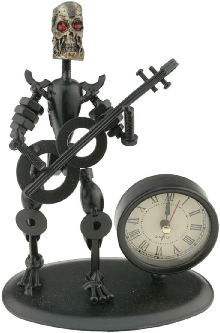 2 in 1 Black Iron Art Nut and Bolt Skull Music Man Figure Elegant Unique Western Style Clock Watch with Guitar Key Chain Home Office Desk Decor Decoration Gift A05611 Guitar