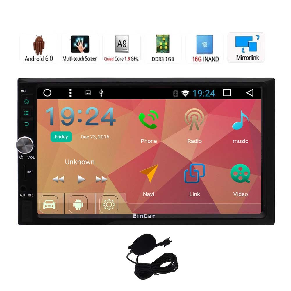 Pure Android 6.0 Car Stereo with Navigation Double Din 7'' Touch Screen Vehicle Radio Receiver In Dash GPS Head Unit Support Bluetooth WiFi Mirrorlink + External Microphone Yunfamaoyi bBR.AN8033GNN1