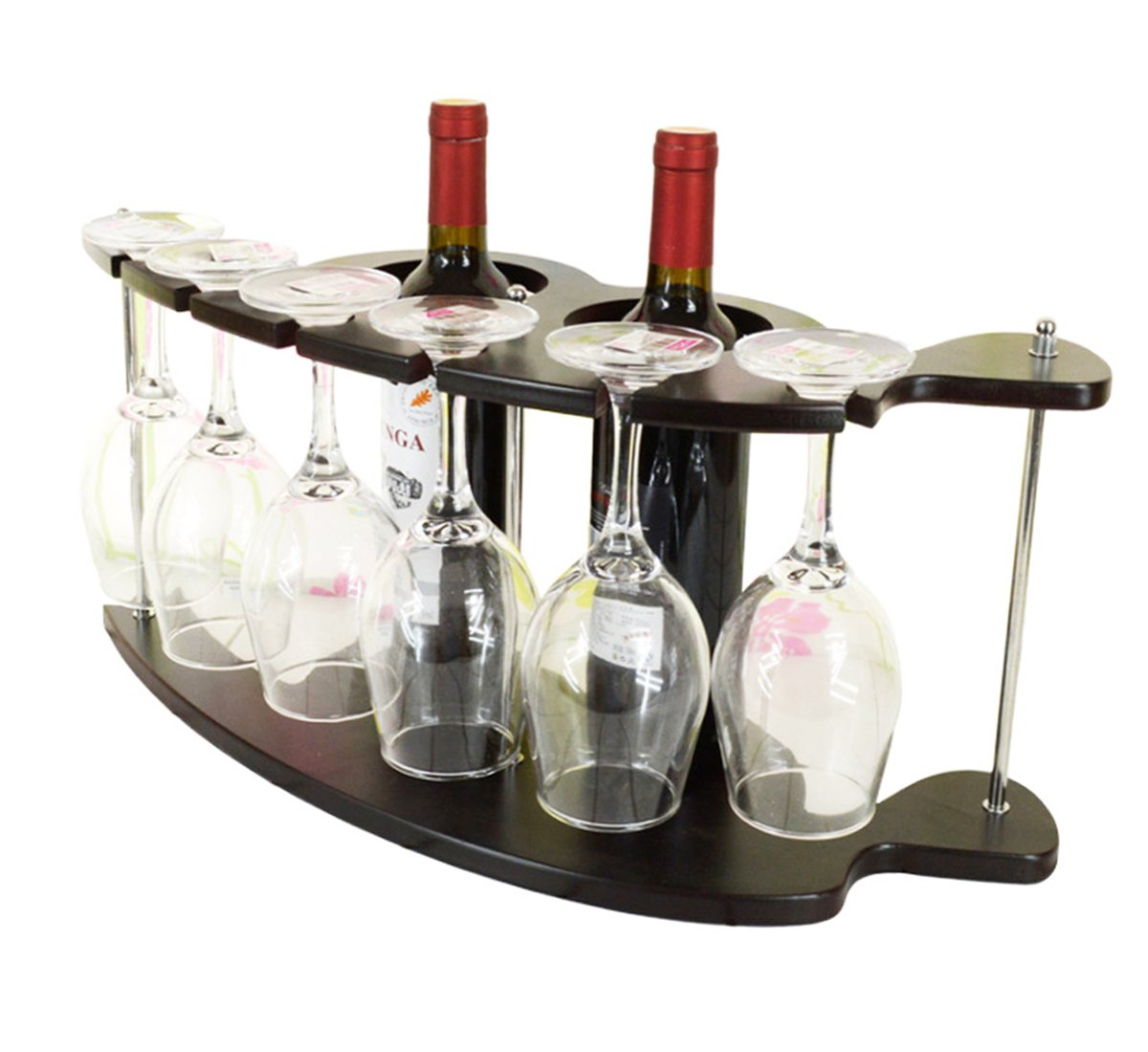 Ukgood creativo elegante ad alta densità di legno vino e bicchieri in vetro stand/rack/Holder/mensola per piano di lavoro, tavoli, e Pi Home Restanrant party mini bar–-può contenere 2bottiglie di vino & 6a stelo