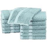 Pinzon Organic Cotton Washcloths (12 Pack), Spa Blue