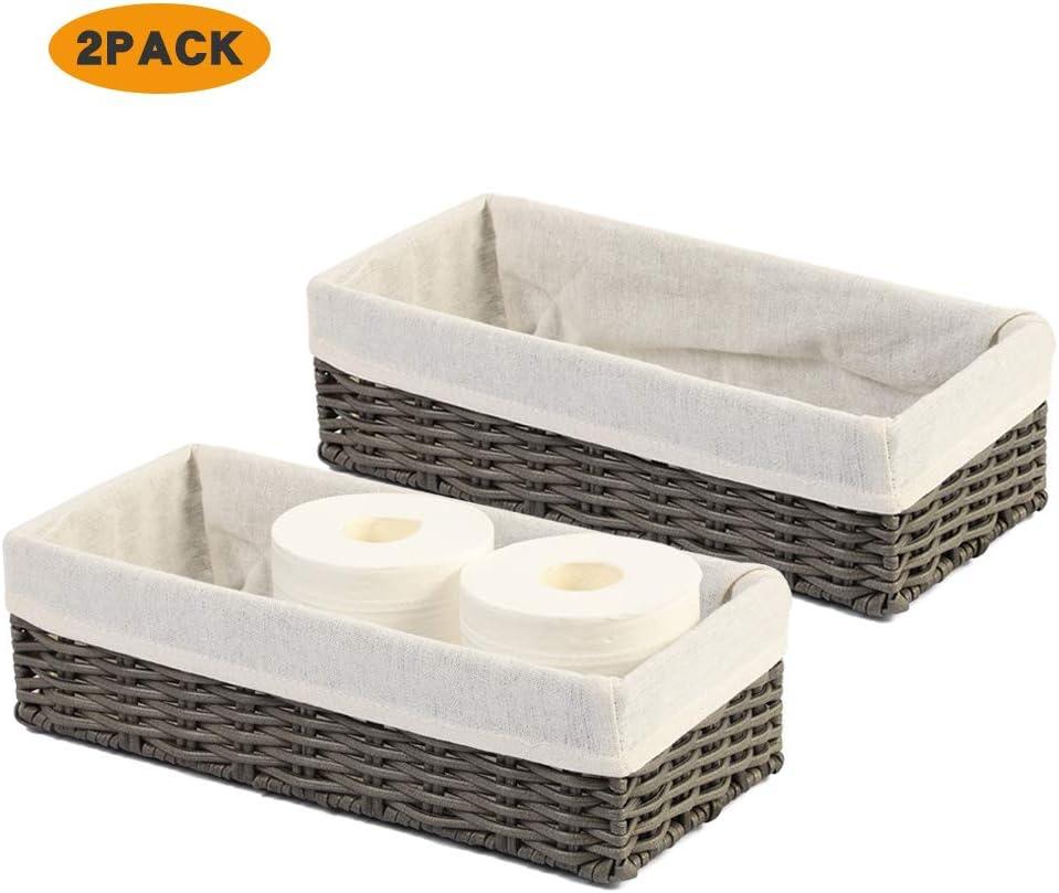 HOSROOME Bathroom Storage Organizer Basket Bin Toilet Paper Basket Storage Basket for Toilet Tank Top Decorative Basketfor Closet, Bedroom, Bathroom, Entryway, Office(Set of 2,Grey)
