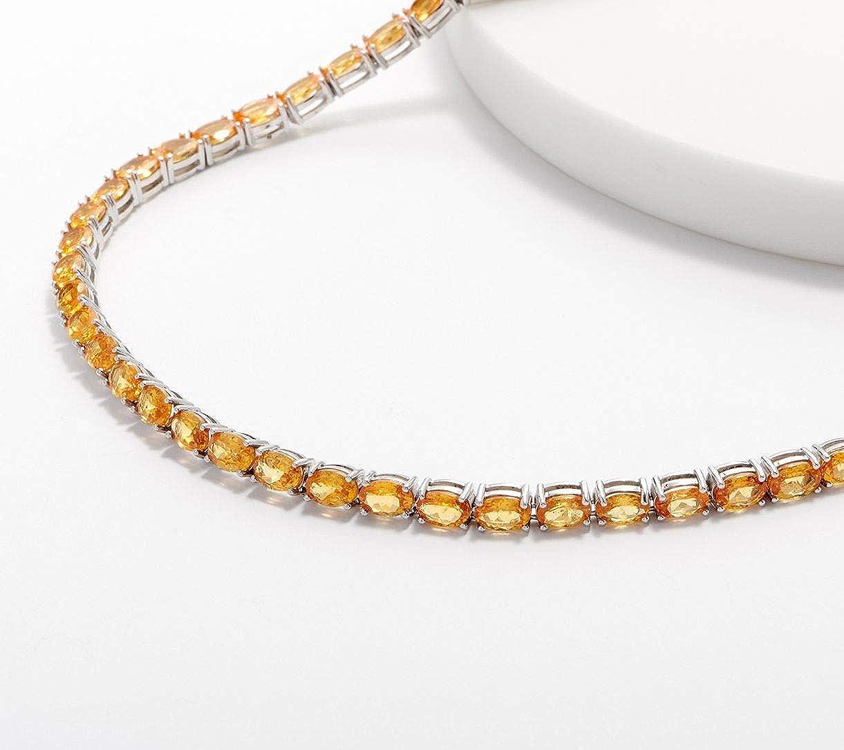 Silvernshine Jewels - Collar de plata de ley 925 con piedras preciosas de tenis y diamantes de citrino de corte ovalado de 2,30 ctw