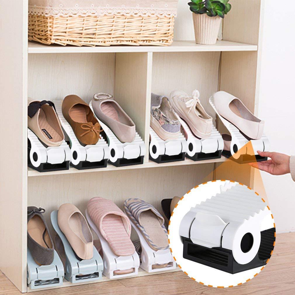 Einstellbare Schuhstapler Set Schuhregale Mehrfarbig;8 pcs platzsparendes schuhregal aus Kunststoff 3 h/öhenverstellbar Schuh-Organizer OLAS Verstellbare Schuh Slots