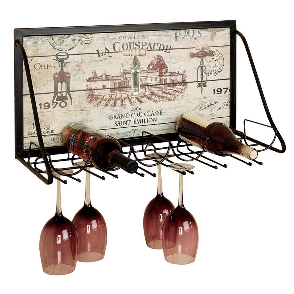 壁掛け式金属製ワイン棚ワインラック、ガラスホルダー付き、ワインボトル収納スタンド、6本入り&12グラス脚付きグラス、65×26×40 CM B07R44J8DS