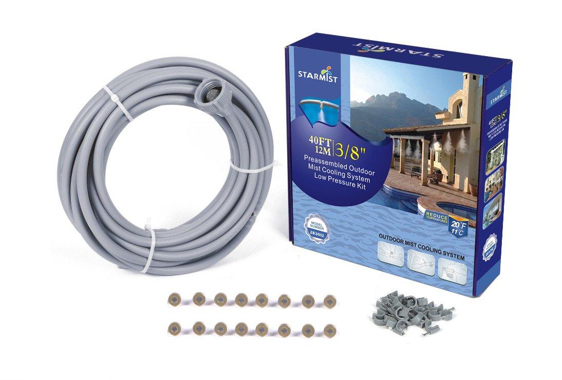 Starmist Patio Mister Outdoor Mist Cooling System Preassembled Low Pressure Kit, 12M/40', 3/8'', 12m/40' 3/8''