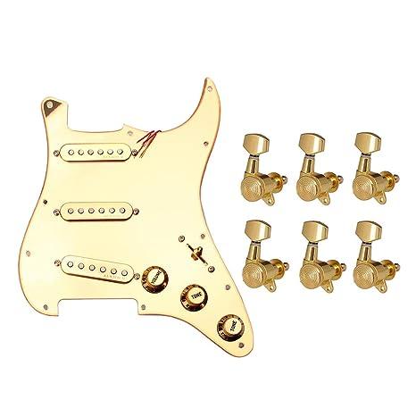 B Blesiya 1x Pickguard de Guitarra 6x Clavija de Afinación Gear ...
