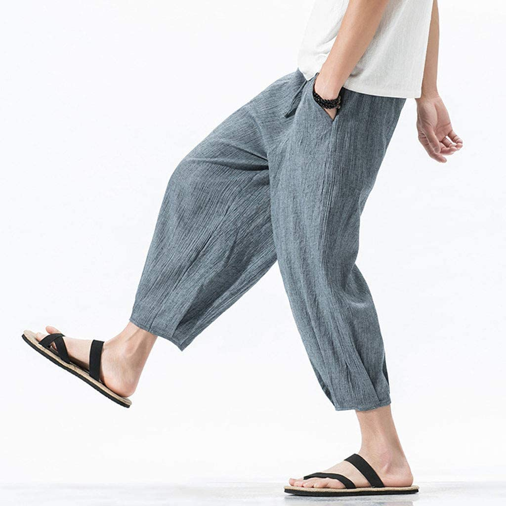 Uqiangy Chinese Style Summer Male Loose Large Size Wide Leg Nine Pants Linen Bloomers