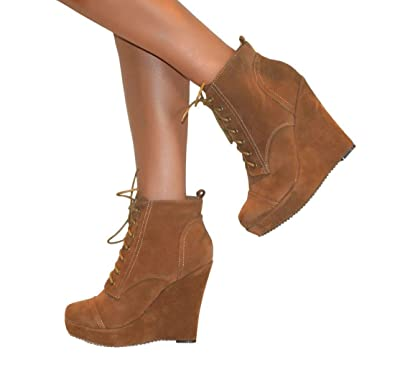 b12a1b58f44 Perfect Me Womens Faux Suede Lace-Up Wedge Platform High Heel Ankle Boots -  Tan