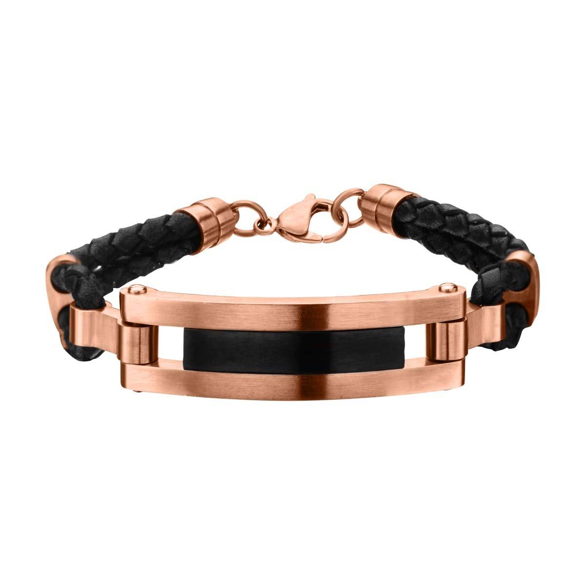 Tribal Hollywood Fresco Rose Gold IP Steel Black Leather Modern Mens Id Bracelet