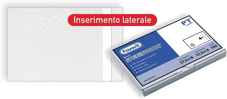 Favorit 100500101 Busta Adesiva per Spedizioni in Polietilene Tipologia Pt Formato Interno 19X12,5 Confezione da 100 Pz.
