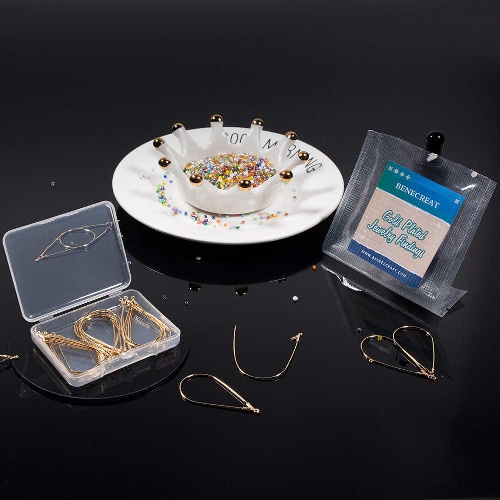 BENECREAT 30 PCS 18K Gold Plated Teardrop Shaped Beading Hoop Earring Finding for DIY Making Findings