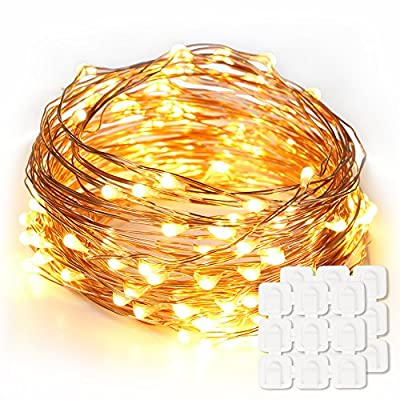 Led String Lights 33ft 100 LED & Decorating Clips(18 Pack), Copper Wire Lights for Bedroom, Patio, Garden, Gate, Yard, Parties, Wedding(USB Powered, Warm White)