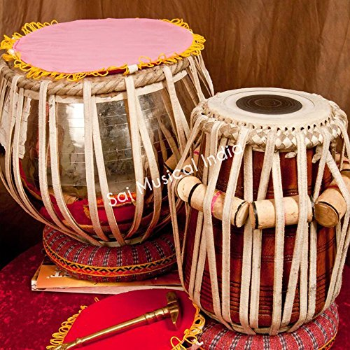 Tabla Set, Queen Brass, 3.5 Kilograms Golden Brass Bayan - Designer, Sheesham Dayan, Tuneable To C Sharp, Padded Bag, Book, Hammer, Cushions, Cover, Professional Tabla Drums Delhi (PDI-BHB) by Queen Brass