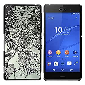 KOKO CASE / Sony Xperia Z3 D6603 / D6633 / D6643 / D6653 / D6616 / dibujo negro arte blanco pintura gráfica / Delgado Negro Plástico caso cubierta Shell Armor Funda Case Cover