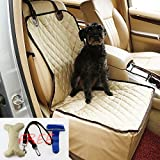 ACEDIUS Dog Seat Cover Pet Car Seat Cover, Waterproof Pet Seat Cover with pet toy,pet brush,pet leash for cars(beige)