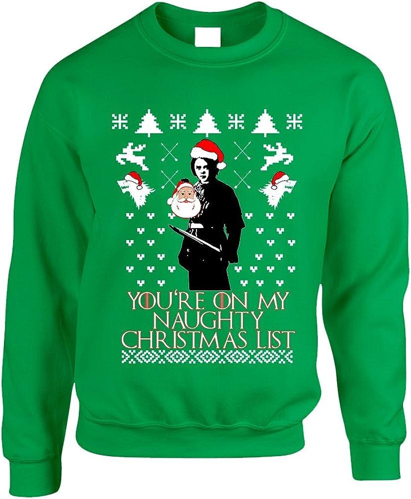 Allntrends Adult Sweatshirt My Naughty Xmas List Arya Stark Ugly Christmas