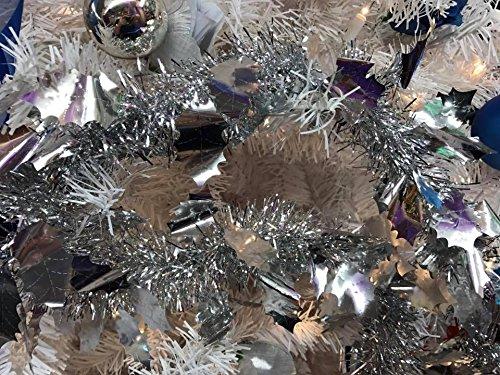 Christmas Tree Silver Leaf Poinsettia Tinsel Decoration Tree Trimming (Tinsel Leaf)