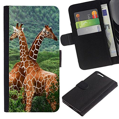 EuroCase - Apple Iphone 6 PLUS 5.5 - The Giraffe Friends - Cuir PU Coverture Shell Armure Coque Coq Cas Etui Housse Case Cover