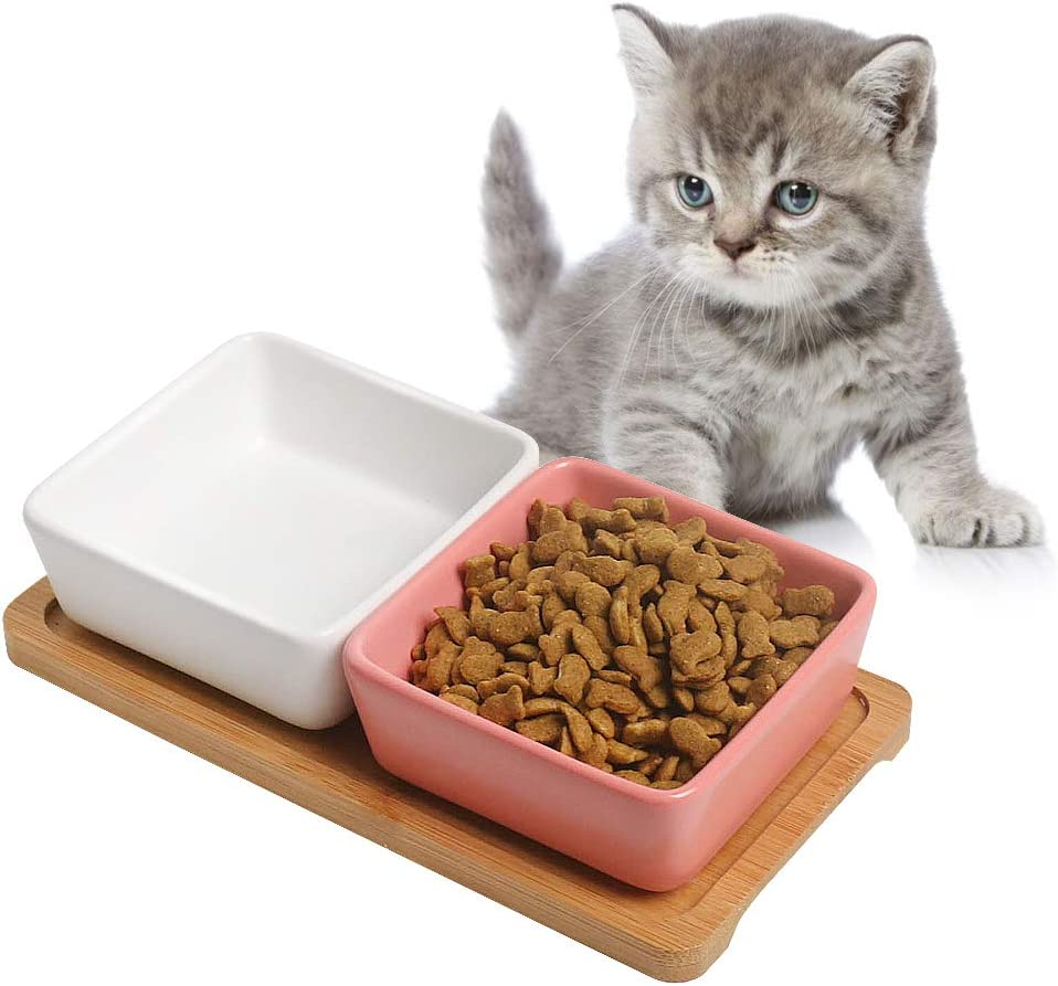 Cat Bowl Cat Food Bowls, Double Dog Bowl Premium Ceramic Pet Bowls, Mini Plates, with Wooden Square Bracket Cute Modeling Pet Food Water for Feeder Cats Hamsters Rabbit Puppy Small Animals and Pets