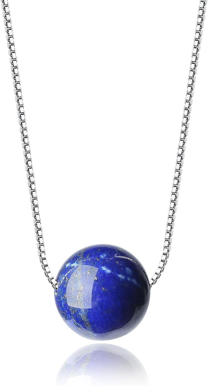 COAI® Collar con Colgante de Cuenta de Pidra Natural Cadena de 925 Plata Plateada de Platino