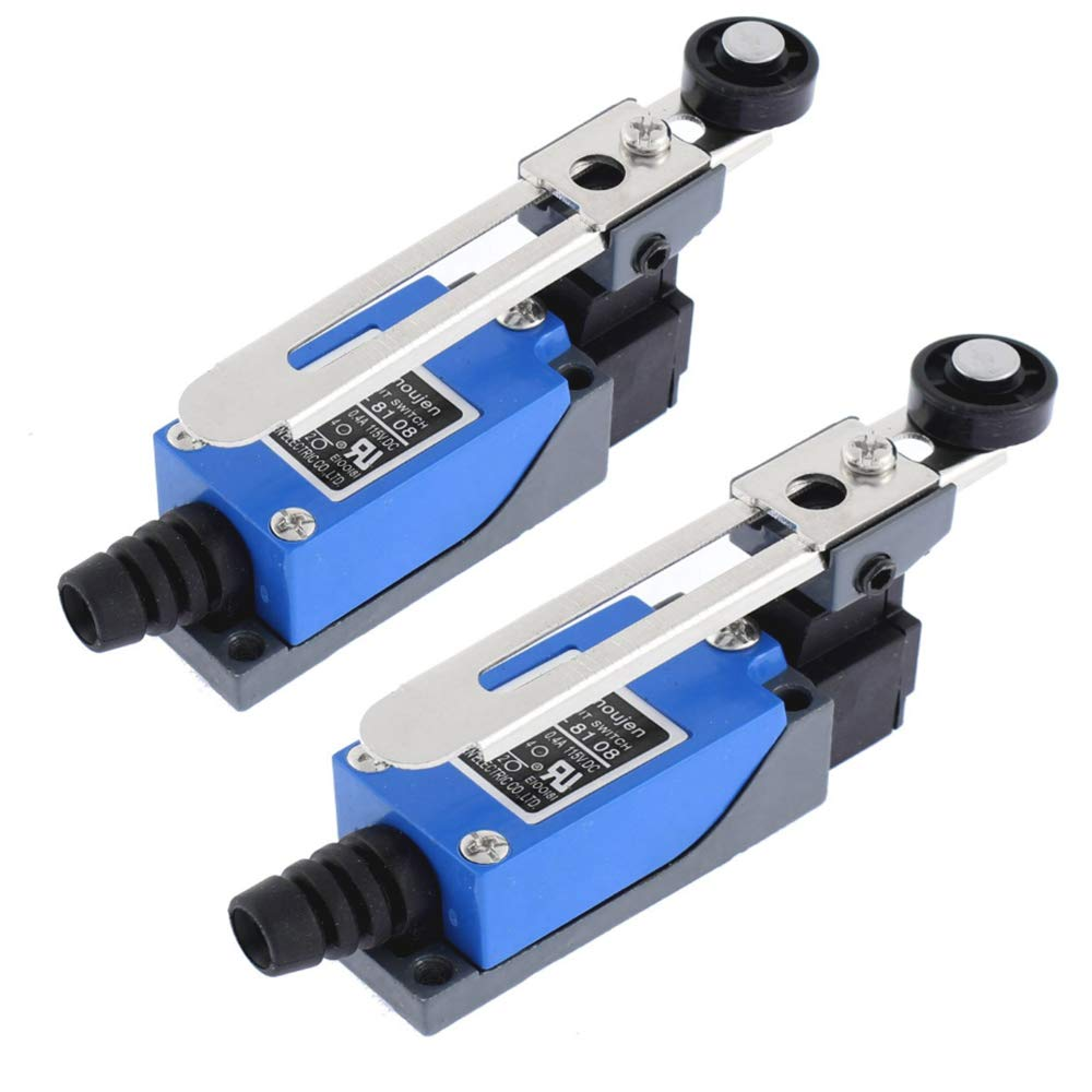 Nuluxi Adjustable Momentary Limit Switch Roller Lever Position Switch Metal Lever Actuator Limit Switch Actuator Type Rotary Adjustable Lever Arm with Roller Fit for NC-NO CNC Mill Router 2 Pieces