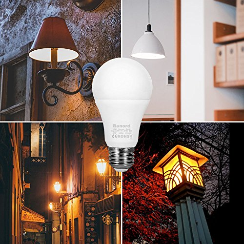 Banord Dusk to Dawn Light Bulbs, 3 Pack 12W Smart Sensor Lighting Bulbs Auto Turn On/Off 2700K Warm White Outdoor LED Bulbs, E26 Base, Non-Dimmable