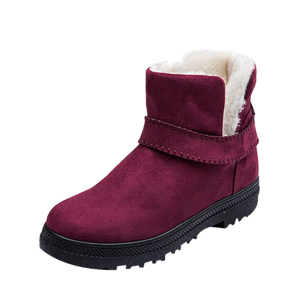 GIFC Women Fashion Solid Warm Winter Flat Snow Short Boots Round Toe Ladies Shoes