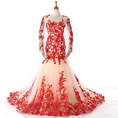 GiayMus Mermaind Dresses Lace Evening Dress Appliques Long Evenig Prom Dresses (16, Red)