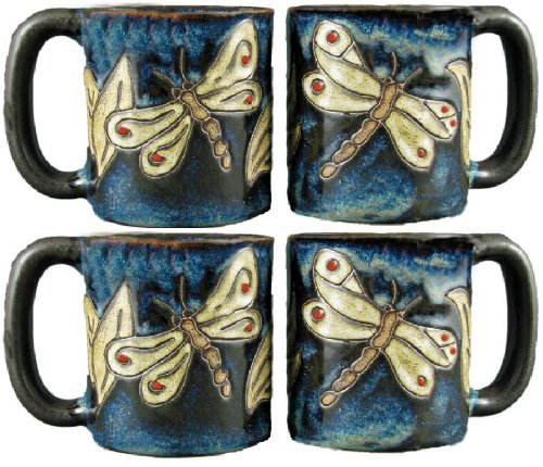 Set Of Four (4) MARA STONEWARE COLLECTION - 16 Oz Coffee / Tea Cup Collectible Mugs - Dragonfly Design