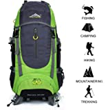 Hiking Backpack 70L Waterproof Ultra Lightweight Daypack Travel Climbing Fishing Backpack Internal Frame BackpackTrekking Camping Outdoor Backpack Bag with a Rain Cover (Green)