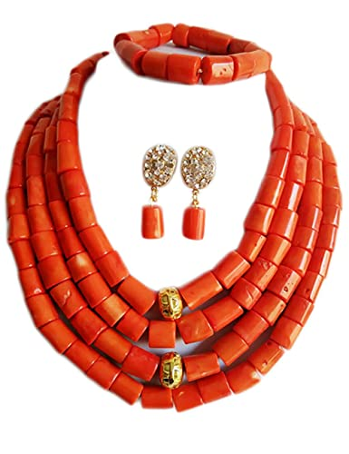 AfricanBeads 2-Row Red Coral Necklace Bracelet Earrings Set African Beads Costume Jewelry Sets Bridal Gift 0NNHuLJ84C